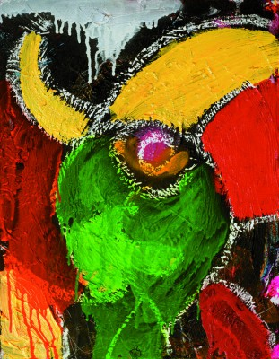 Parrot, 2007, acrylic, oil stick, on canvas, 50x40cm (20x16in)