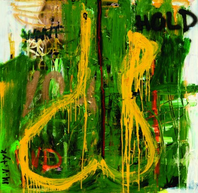 Kundalini, 2008, acrylic, enamel, spray paint, oil stick on canvas, 150x150cm (59x59in)