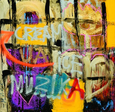 Muzika, 2008, acrylic, enamel, spray paint on canvas, 150x150cm (59x59in)