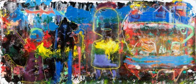 Naberezhna Street, 2011, acrylic, oil stick, enamel, spray paint on canvas, 200x450cm (78x177in)