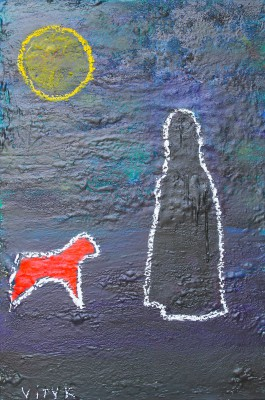Full moon, 2011, enamel, sealant foam, spray paint, acrylic, oil stick on canvas, 150x100cm (78x197in)