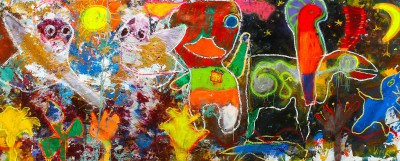 Night shapes, 2012, acrylic, oil stick, enamel, spray paint on canvas, 200X500cm (78x197in)