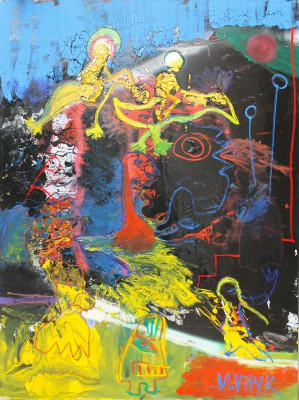 Bardo, 2012, enamel, spray paint, acrylic, oil stick on canvas, 200x150cm