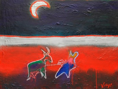 Local traditions, 2012, enamel, sealant foam, spray paint, acrylic, oil stick on canvas, 150x200cm (59x78in)