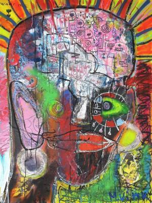 The Winter Rose, 2013, enamel, acrylic, spray paint, oil stick on canvas, 200X150cm (78x59in)