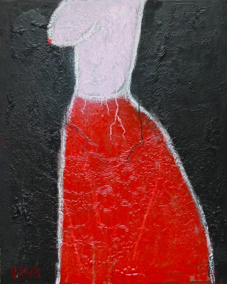 Pink and Red, 2013, acrylic, enamel, spray paint and oil bar on canvas, 150X120cm (59x47in)