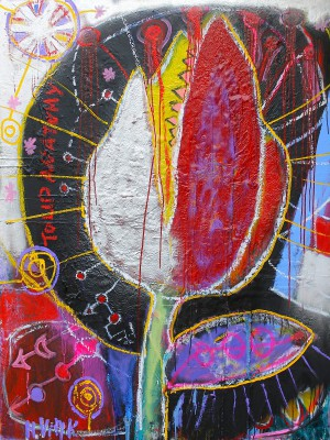 Tulip anatomy, 2013, enamels, acrylic, oil stick, spray paint on canvas and paper,  200X150cm (78x59in)