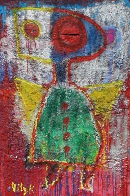 Bardo Angel, 2014, acrylic, enamel, spray paint, oil bar, sealant foam and permanent marker on canvas,150X100cm (59x39in)