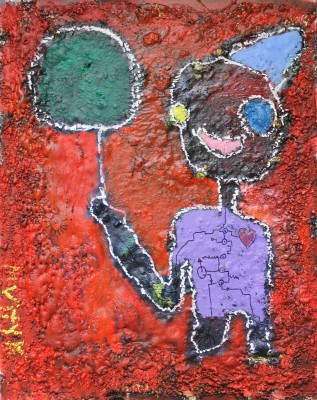 A boy with a green balloon, 2014, acrylic, enamel, spray paint, oil bar, sealant foam, 150X120cm (59x47in)