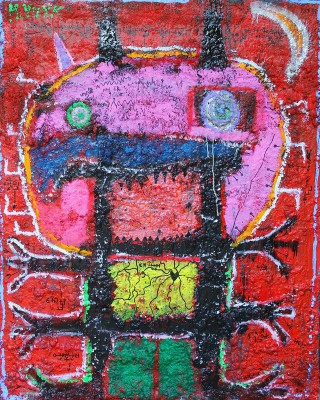 The Caterpillar, 2014, acrylic, enamel, spray paint, oil bar, foam and permanent marker on canvas, 150X120cm (59x47in)