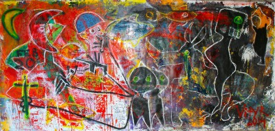 Molotov moon, 2014, acrylic, oil stick, enamel, spray paint on canvas, 200X500cm (78x197in)