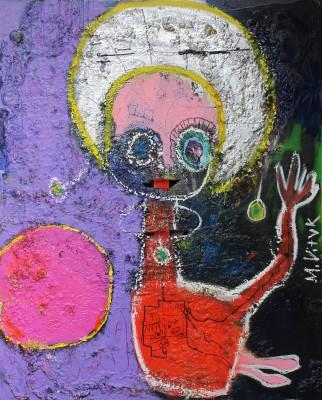 Shakti games, 2014, acrylic, enamel, spray paint, oil bar, sealant foam and permanent marker on canvas,150X120cm (59x47in)