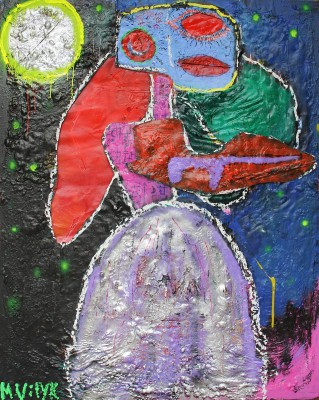 The Bride, 2014, acrylic, enamel, spray paint, oil bar, sealant foam and permanent marker on canvas,150X120cm (59x47in)