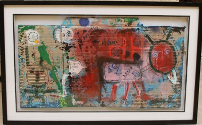 V89, 2014, enamel, acrylic, pen on carton, 63X101cm.