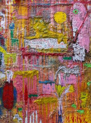 Dreamland, 2016, acrylic, enamel, spay paint, oil bar, pen and foam on canvas, 200X150cm (78x59in)