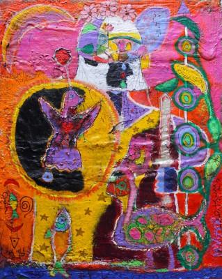 Number 20 - African knight, 2018, acrylic, enamel, foam, spray paint, pen, oil bar on canvas 150X120cm (59x47in)