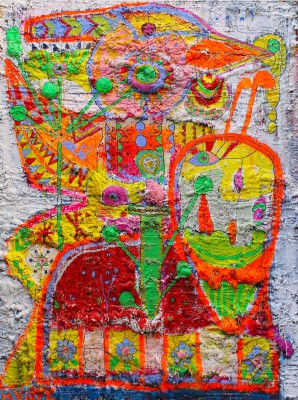 Number 17 - Fighting Ruster, 2018, acrylic, enamel, spay paint, oil bar, pen and foam on canvas, 200X150cm (78x59in)