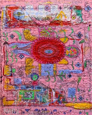 Number 18 - Grasshopper, 2018, acrylic, enamel, foam, spray paint, pen, oil bar on canvas 150X120cm (59x47in)