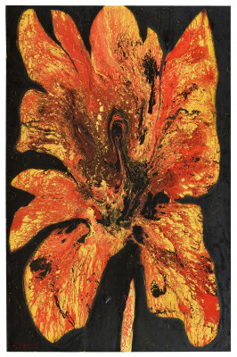 Fire Iris, 2013-2014, enamel, spray paint, oil bar on canvas, 300X200cm (118x78in)