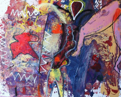 Her memory, 2012, acrylic, enamel, spray paint, oil bar, 120X150cm (47x59in)