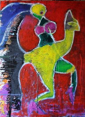 Peacock, 2013, acrylic, enamel, spray paint, oil bar, 200X150cm (78x59in)