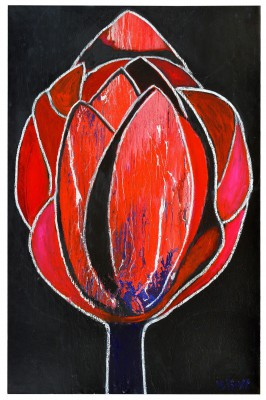 Red&Black Tulip, 2013, enamel, acrylic and, spray paint and oil bar on canvas, 300X200cm (118x78in)