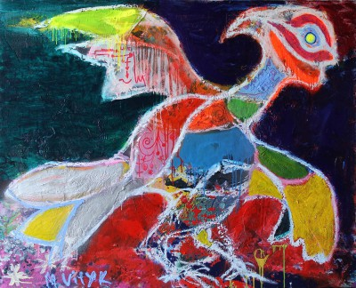 Smiling bird, 2013, acrylic, enamel, spray paint, oil bar, 120X150cm (47x59in)