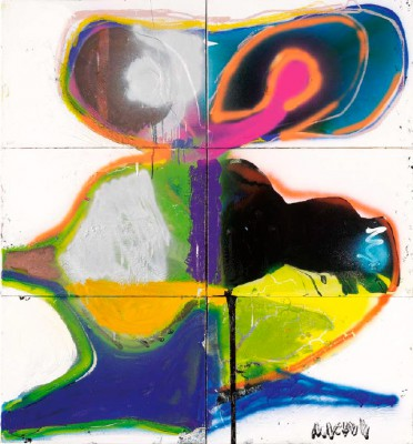 Transformer 3, 2010, acrylic, enamel, spray paint, oil stick on canvas, 150x140cm (59x55in)