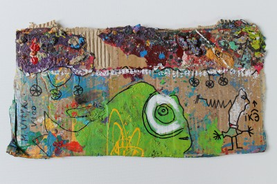 V100, 2014, acrylic, enamel, spray paint, oil bar and permanent marker on carton, 23X42cm (9x16.5in)