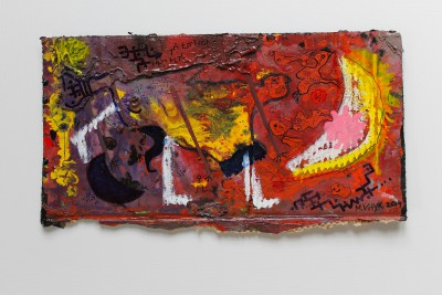 V58, 2014, enamel, acrylic, permanent marker, oil bar on carton, 21X42cm (8x17in)