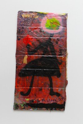 V70, 2014, enamel, acrylic, permanent marker, spray paint on carton, 42X21cm (16.5x8in)