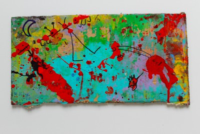 V76, 2014, enamel, acrylic, permanent marker on carton, 21X42cm (8x16.5in)