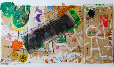 V79, 2014, enamel, acrylic, permanent marker, oil bar on carton, 84X42cm (33x16.5in)