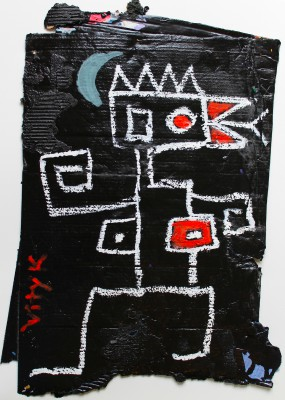 V88, 2014, enamel, acrylic, permanent marker, oil bar on carton, 85X53cm (33.5x21in)