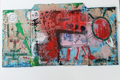 V89, 2014, acrylic, enamel, spray paint, oil bar and permanent marker on carton, 42X84cm (16.5x33in)