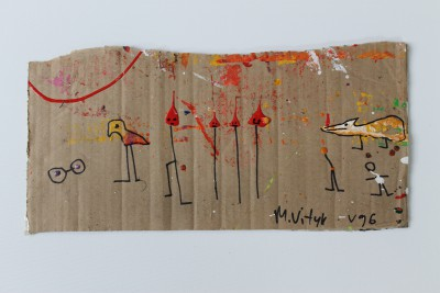 V96, 2014, acrylic, enamel and permanent marker on carton, 20X41cm (8x16in)