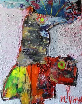Wild rider, 2012, acrylic, enamel, spray paint, oil bar, 150X120cm (59x47in)