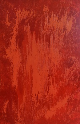 Red Energy, 2013, enamel on canvas, 300x200cm (118x78in). Reflecting the energy of Transformation, this painting is radiates warmth and light. In ancient Indian philosophy, red is the color of the Fire element - victory, excitement and passion. In energy, this Fire element is represented by electricity and fire. Geologists use red to indicate oil or gas.