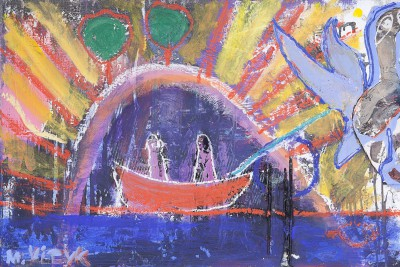 Sun rise with red boat and blue bird, 2011, enamel, spray paint, acrylic, oil stick on paper and canvas, 80x120cm (31.5x47in)