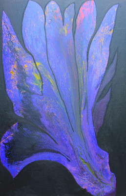 Blue Flower, 2014, acrylic, enamel, spray paint, oil bar on canvas 300X200cm (118x78in)