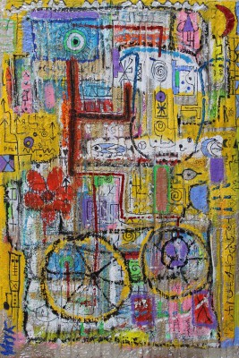 Bicycle secrets, 2016, acrylic, enamel, foam, spray paint, pen, oil bar on canvas 150X100cm (59x39in)