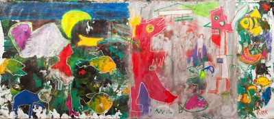 Parallel worlds, 2013-2014, acrylic, oil stick, enamel, spray paint on canvas, 200X480 cm (78x188 in)