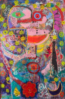Number 7 - Flower Man, 2015, acrylic, enamel, spray paint, oil bar, foam and pen on canvas 300X200cm (118x78in)