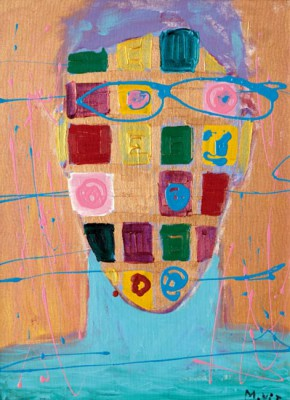 Self Portait, 2001, acrylic, enamel on canvas, 63x47.5cm (25x19in)