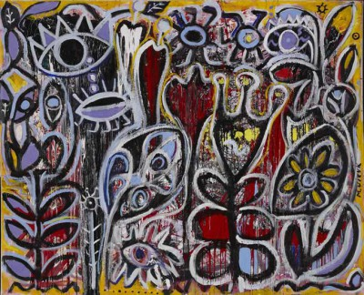Secret Garden, 2002, acrylic, enamel on canvas, 195x240cm (77x94.5in)