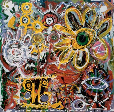 Mineral's Life, 2002, acrylic, enamel on canvas, 121x121cm (48x48in)