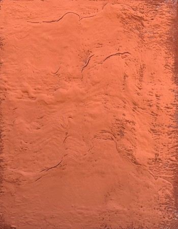 Red Rock 1. 2020, enamel, foam and natural pigment on canvas, 90X70 cm