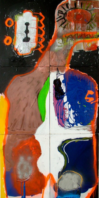 Transformer 1, 2010, acrylic, enamel, spray paint on canvas, 240x140cm (94.5x55in)